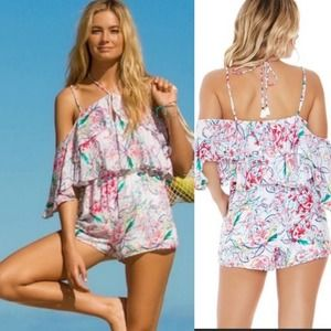 NWT L*SPACE Floral Drawstring Ruffle Romper size S